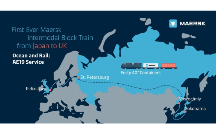 First-ever container block train from Japan to UK via Trans-Siberian Railway was managed by A.P. Moller- Maersk and their Russian partner Modul