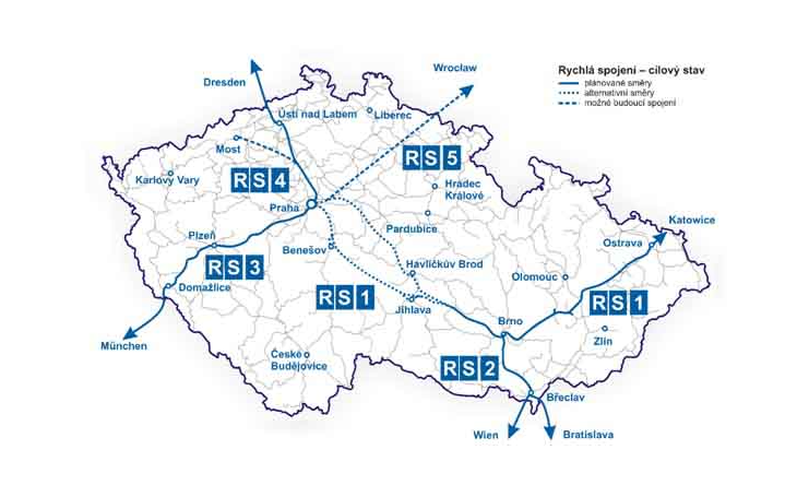 New high-speed tracks (VRT) in the Czech Republic. The vision is to complete the first section of Prague-Brno by 2032