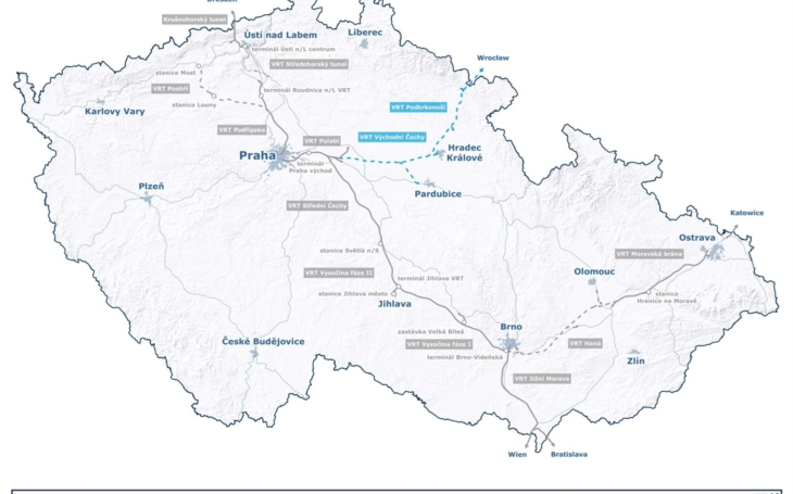Czech company Správa železnic: Half a million euro for a feasibility study of a high-speed rail to Poland.