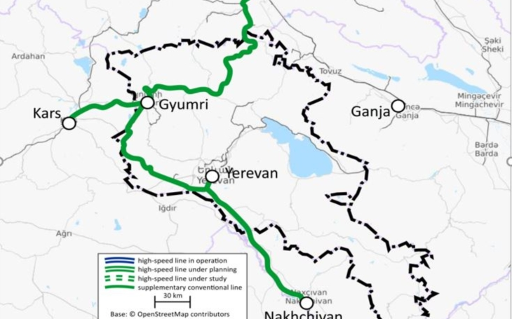 High speed rail network in Armenia