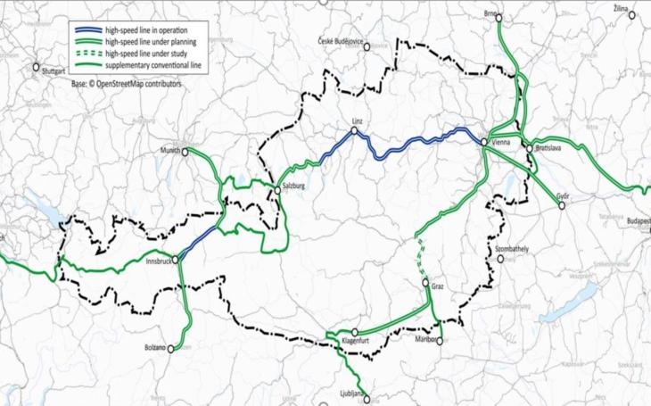 High speed rail network in Austria